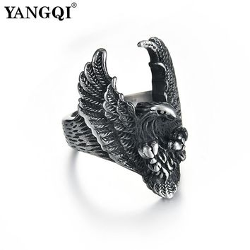 YANGQI Stainless Steel Flying Eagle Ring for Men Antique Silver Color Punk Jewelry Club Party Cool Animal Hawk Jewelry Male
