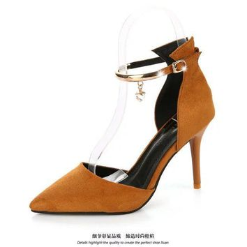 Shinning Decoration Pointed Toe Cut Out Ankle Wrap Stiletto High Heels