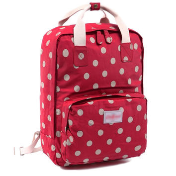 Red Polka Dots Canvas Laptop Backpack Bookbag Travel Bag Daypack