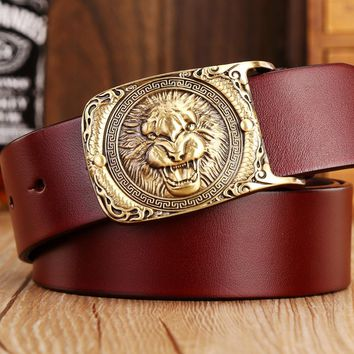2017 new hot designer belts men high quality solid brass buckle luxury 100% real full grain genuine leather lion ceintures eagle