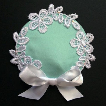 Mint Lace Headpiece - Bridal Cocktail Hat, Bow Headpiece, Hair Clip, Bridesmaid Hair Accessories, Prom Hairpiece, Wedding Hat