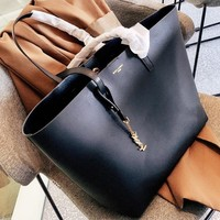 YSL Women Shopping Leather Tote Handbag Shoulder Bag Purse Wallet Set Two-Piece