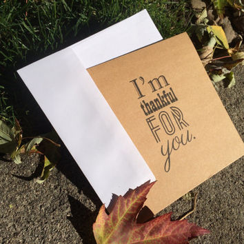 "Kraft paper card ""I'm Thankful for you""  For all occasions, blank inside, Ask a Question"