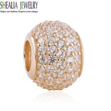 Rose Gold Plated Pave Ball Charm Beads Fits Pandora Bracelets Original 925 Sterling Si