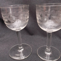 Pair of Victorian/Edwardian Greek Key design sherry/port/liqueur glasses