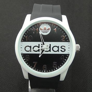 ADIDAS tide brand men and women fashion tape watch F-SBHY-WSL Black watchband + white shell