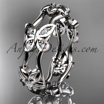 14kt white gold diamond floral butterfly wedding ring, engagement ring, wedding band ADLR153. nature inspired jewelry