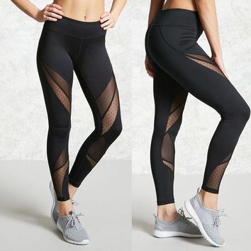 2017 Newest Hight Waist Yoga Pants Women Sport Leggings Stretch Mesh Patchwork Sport Trouser #E0