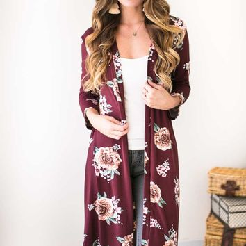 Need You Close Long Floral Cardigan