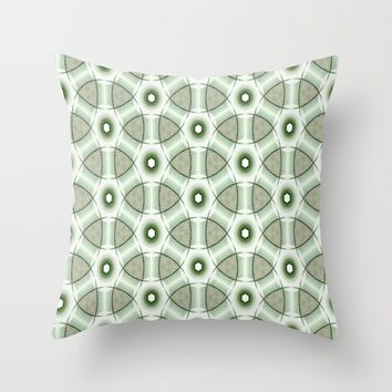 Abstract Green Throw Pillow by kasseggs