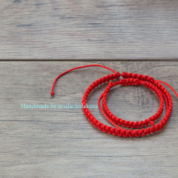 Red String Bracelet. Red String Kabbalah Bracelet. Red Thread Macrame Bracelet. Lucky Charms. Unisex, Women, Men, Baby. Good Luck