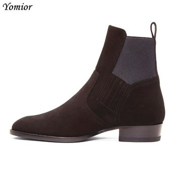 NEW Kanye West Style Chelsea Boots Fashion High Quality Men Ankle Boot Real Leather Wedding Party Motorcycle Boot Oxford Casual