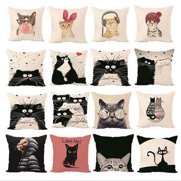 Simple soft cat style linen Pillow cover Home room hotel quality cat Decorative Pillowcase Bedding  hot animal pillow cover