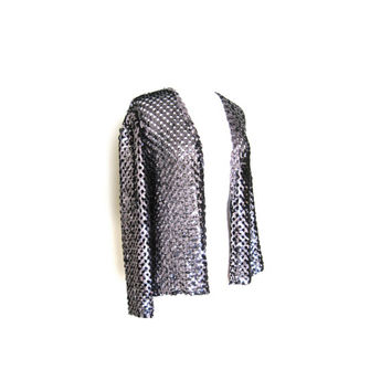 Silver Sequin Open Weave Cardigan Jacket Size Medium