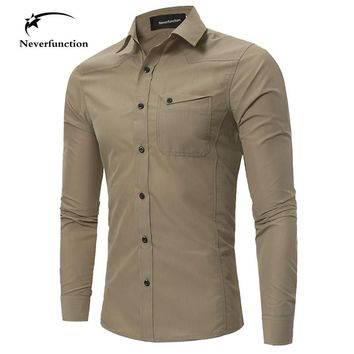 New Men Cargo Military Tactical Style Shirts Autumn long sleeves Khaki Army green Shirt  Male Casual Slim Clothes plus size 4XL