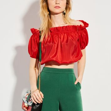 Chicloth Red Off the Shoulder Puff Sleeve Blouse