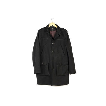 black wool military coat / long / slim fit / winter jacket / basic / minimal / size 40 / mens medium - large