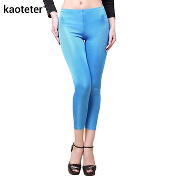 100% Pure Silk Women's Leggings Women Ankle-Length Pencile Pants Female Casual Wild Bottoming Trousers For Woman