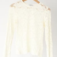 Vintage White Lace Long Sleeves Blouse Top Women Small