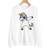 New Autumn Wnter Fashion Sweatshirt Women Girl Cute Cartoon Unicorn Tracksuit Long Sleeve Crop Jumper Printed  Pullover Tops