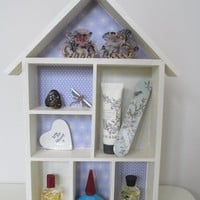 Hand crafted wooden House Box Shelf for toys or treasures, trinket shelf
