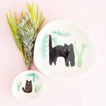 Miso Cats and houseplant ring dish - black cats with plant succulent cacti pattern ceramic plate