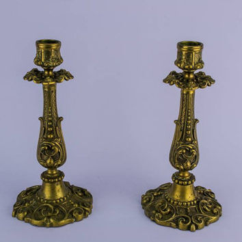2 Brass Antique Floral Scrolls And Beading Medium Decorative CANDLESTICKS High Victorian Lavish 19th Century English LS