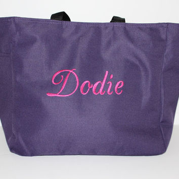 Bridesmaid Gift - Purple Tote Bag - Monogrammed Bag - Beach Tote Bag