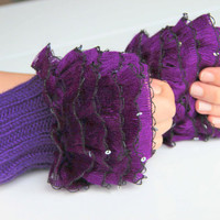 Fingerless Gloves, cozy hand knitted mittens Hand  Knit elegant ruffled sequined purple gloves, frilly gloves purple with sequins