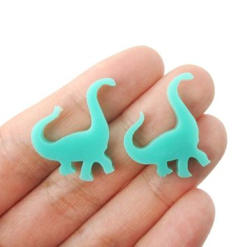Large Brontosaurus Dinosaur Silhouette Shaped Laser Cut Stud Earrings in Blue Green