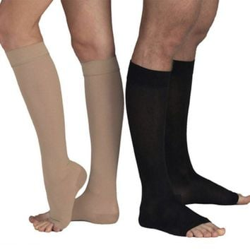 Top Quality Knee High Open Toe Women Men Unisex Compression Socks Leg Fatigue Relief Sock