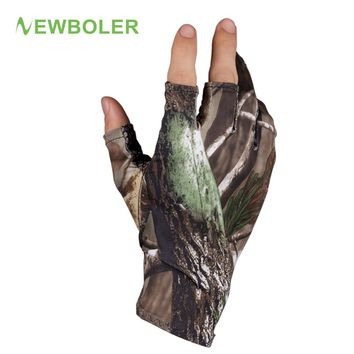 NEWBOLER Camouflage Fishing Gloves 3 Half-Finger Breathable Anti-Slip Hunting Glove Fishing Accessories Outdoor Sport Cam Gloves