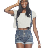 Blue Asphalt High Waist Shortall | Wet Seal
