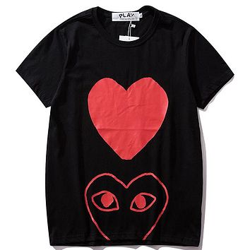 PLAY Tide brand classic love print men and women round neck half sleeve T-shirt Black