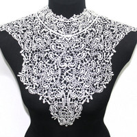 White Crochet Lace Handmade Collar for Shirt Blouse by Craftasy