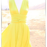 Wrap Infinity Dress in Citron Yellow Tea Length Infinity Summer Dress - READY TO SHIP