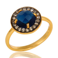14K Yellow Gold Plated Sterling Silver Blue Corundum And CZ Stackable Ring