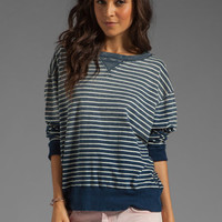 Current/Elliott The Stadium Sweatshirt in Indigo Stripe from REVOLVEclothing.com