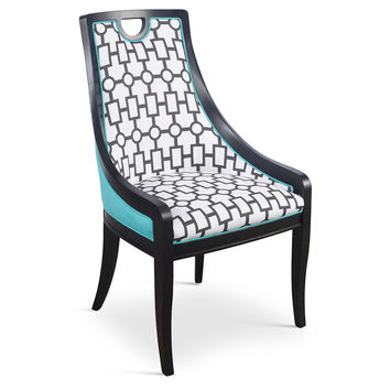 Turquoise Deco Side Chairs, Pair, Dining Chair Sets