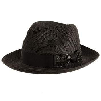 "Bruno Capelo ""Luxe"" Center Dent Straw Fedora"
