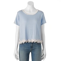 About A Girl Crop Striped & Floral Juniors' Top, Size: