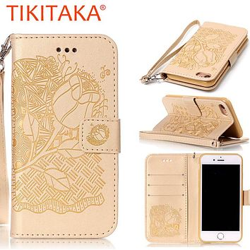 For Apple iPhone 7, 7 Plus Cover Capa Grace Lady Style Embossed Flower Wallet Flip Leather Stand