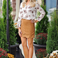Phoenix Scallop Bottom Faux Suede Skirt : Camel