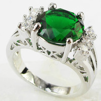 Stunning Fashion 4.2CT Synthetic Emerald Zircon Heavy 14K White Gold Plated Ring #1212 Size 6789