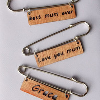 Wooden Brooch Kilt Pin with Name
