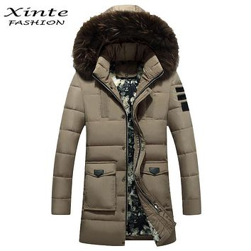 Xinte Fashion 2016 Men Down Jackets Parkas Coat with Raccoon Fur Trim Hood Outwear Winter Warm