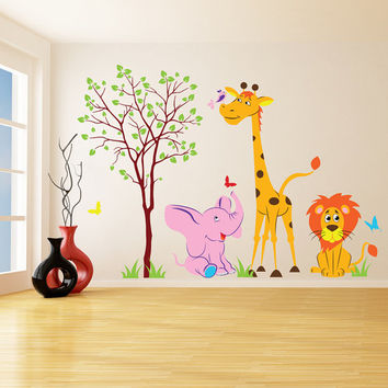 Vinyl Wall Kids Decal Animals in Forest / Art Home Baby Giraffe, Lion, Elephant Sticker / Child Kids Room Decor + Free Random Decal Gift!