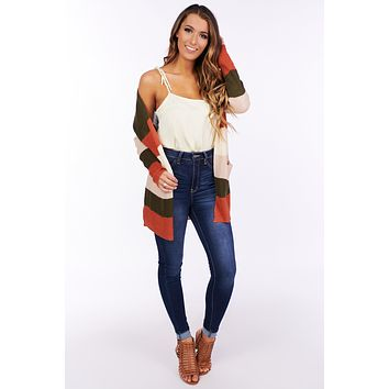 In Too Deep Striped Knit Cardigan (Olive/Rust)