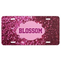 Monogram, Pink Glitter Car License Plate