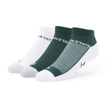 LMFON NCAA Michigan State Spartans 3 Pack Team Color Rush 47 Motion Sock Low Cut